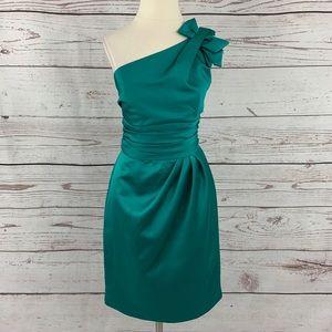 David's Bridal one shoulder jade green dress
